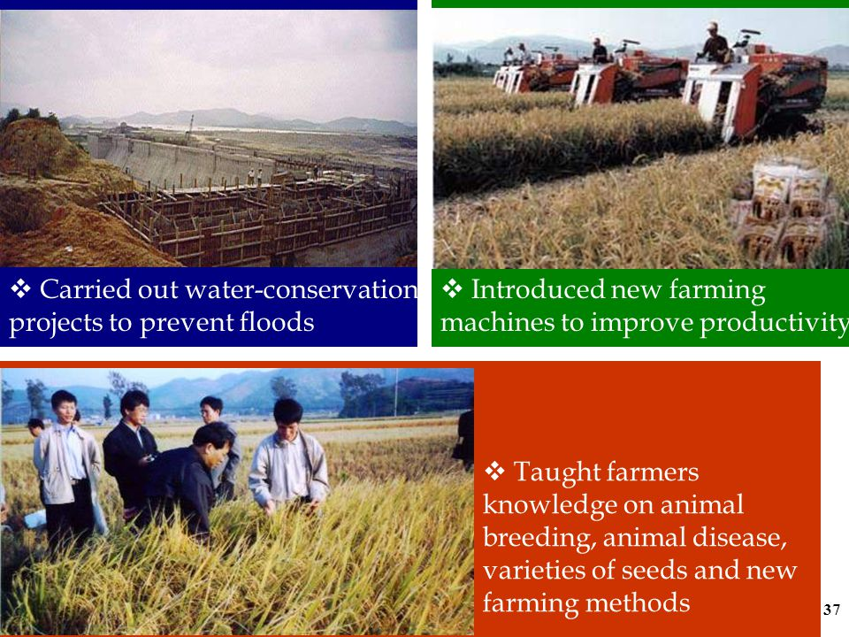 36 (b) Agricultural Modernization http://www.abchina.com/abc on/pages/index.html Agricultural policies  re-opened the Agricultural Bank of China to centralize the management of agricultural funds and loans in 1979  increased financial support to agriculture
