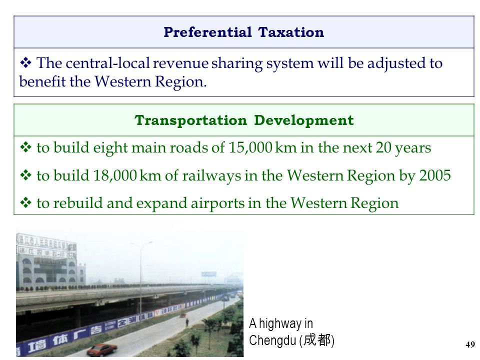 48 Preferential Treatment of Foreign Investment  tax concessions for foreign enterprises investing in 'government encouraged projects' in the Central and Western Regions Preferential Loan  The National Development Bank ( 國家開發銀行 ) provides a loan of 53 billion Rmb for construction projects in Sichuan ( 四川 ).