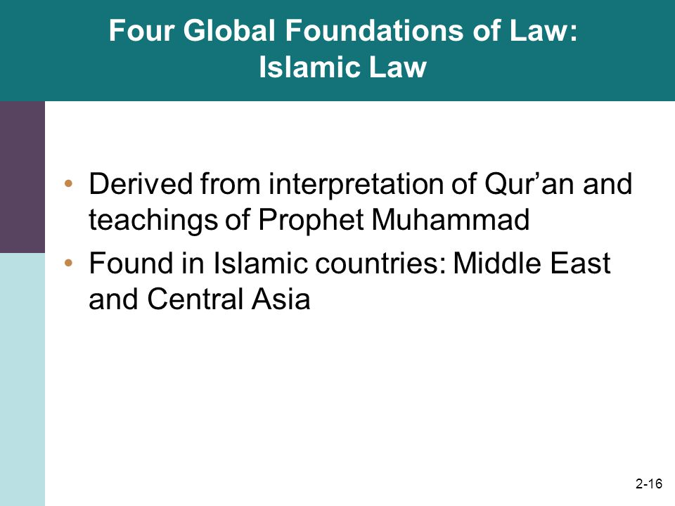 2-16 Four Global Foundations of Law: Islamic Law Derived from interpretation of Qur'an and teachings of Prophet Muhammad Found in Islamic countries: M