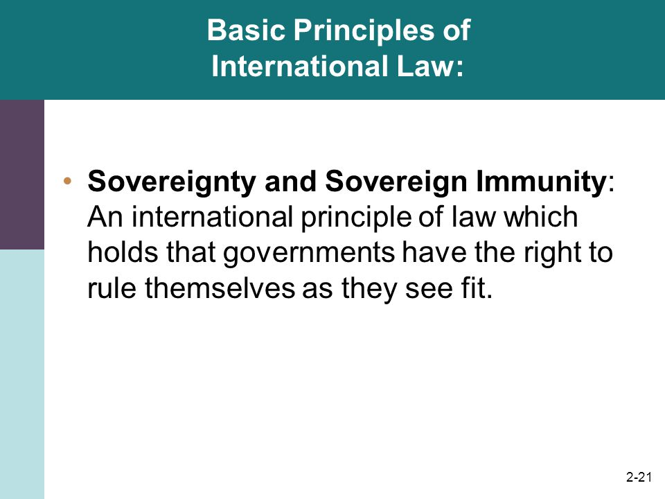 2-21 Basic Principles of International Law: Sovereignty and Sovereign Immunity: An international principle of law which holds that governments have th