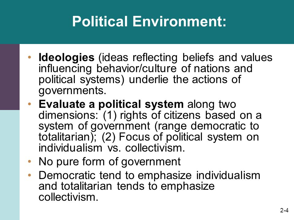 2-4 Political Environment: Ideologies (ideas reflecting beliefs and values influencing behavior/culture of nations and political systems) underlie the