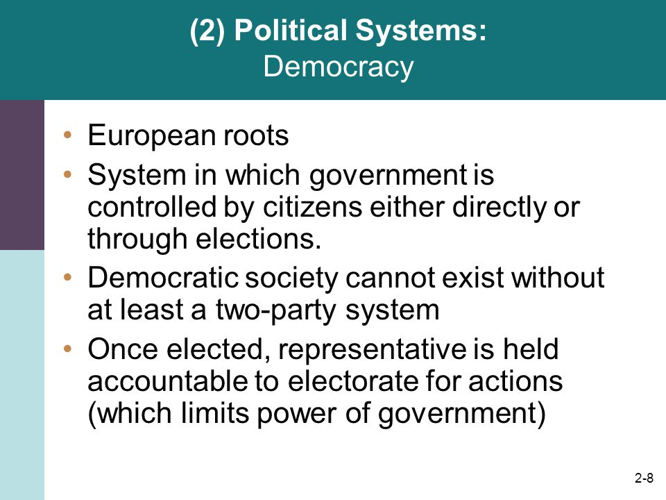 2-8 (2) Political Systems: Democracy European roots System in which government is controlled by citizens either directly or through elections. Democra
