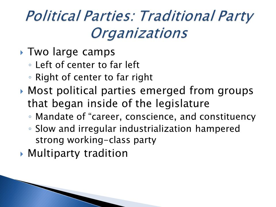  Two large camps ◦ Left of center to far left ◦ Right of center to far right  Most political parties emerged from groups that began inside of the legislature ◦ Mandate of career, conscience, and constituency ◦ Slow and irregular industrialization hampered strong working-class party  Multiparty tradition