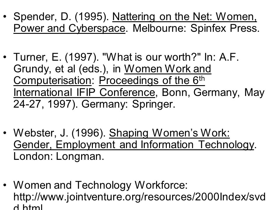Spender, D. (1995). Nattering on the Net: Women, Power and Cyberspace.