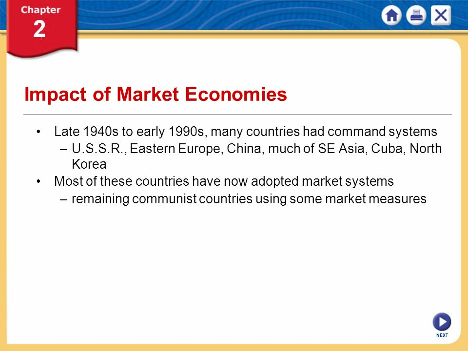 NEXT Impact of Market Economies Late 1940s to early 1990s, many countries had command systems –U.S.S.R., Eastern Europe, China, much of SE Asia, Cuba,