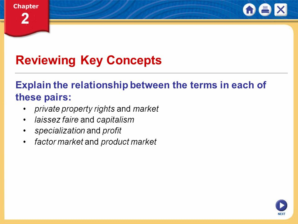 NEXT Reviewing Key Concepts Explain the relationship between the terms in each of these pairs: private property rights and market laissez faire and ca