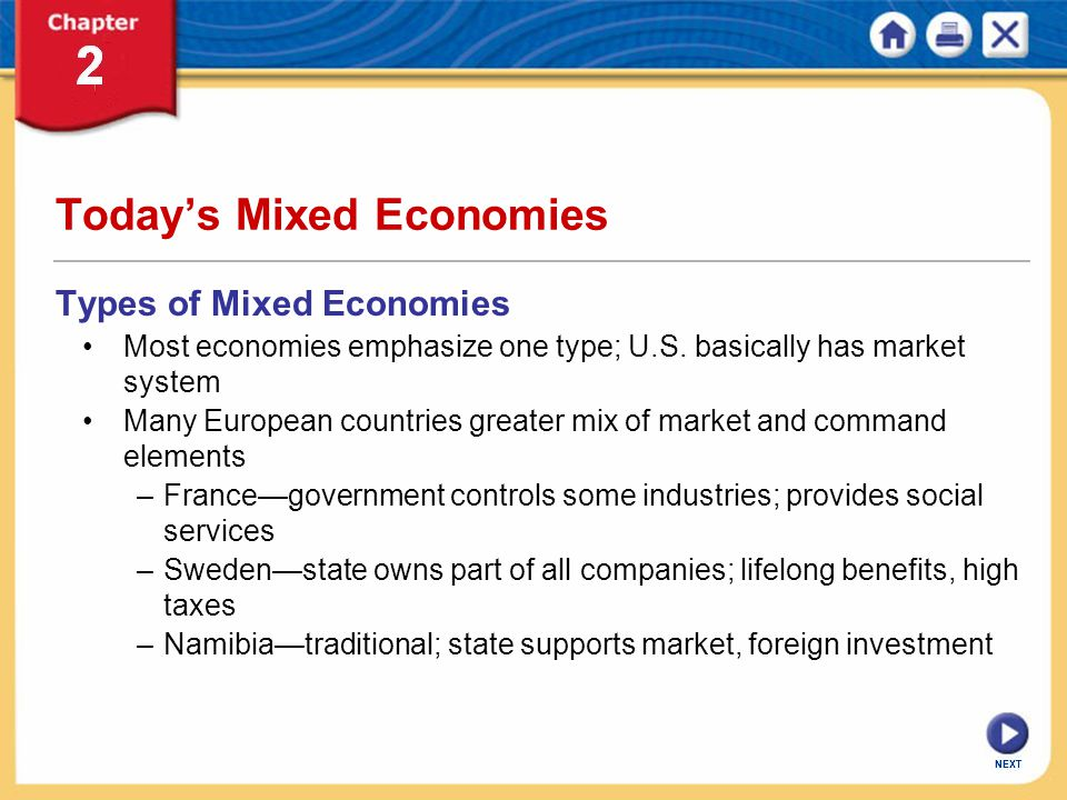 NEXT Today's Mixed Economies Types of Mixed Economies Most economies emphasize one type; U.S. basically has market system Many European countries grea