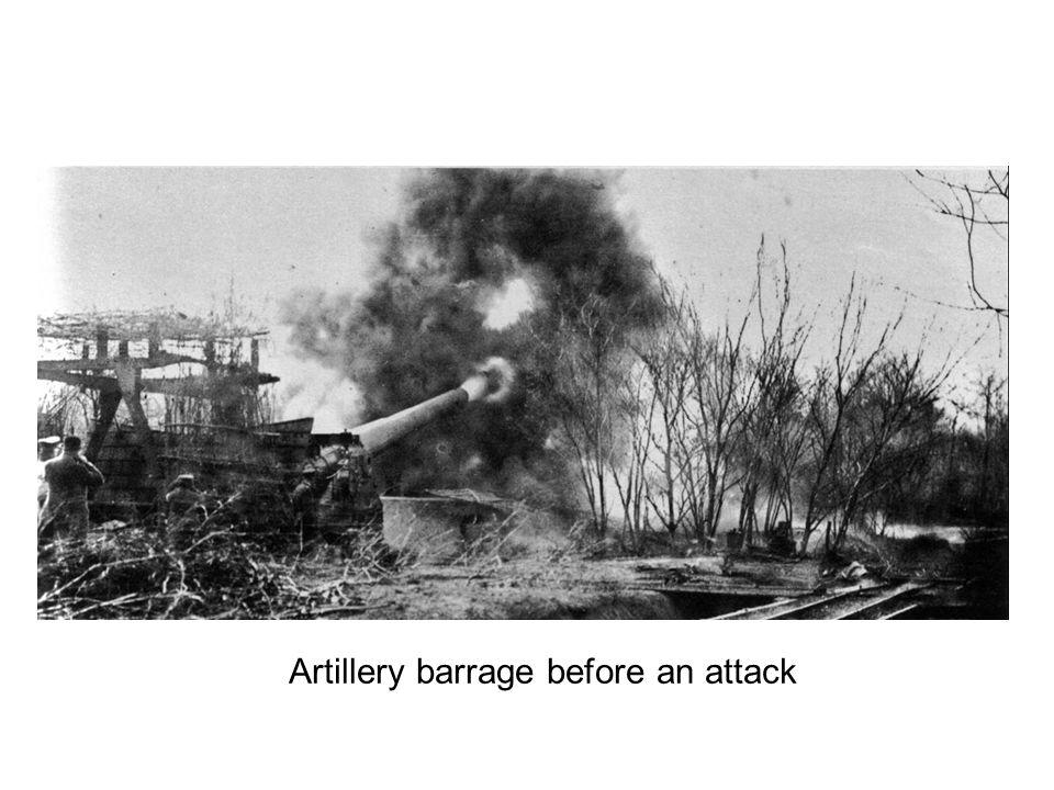 Artillery barrage before an attack