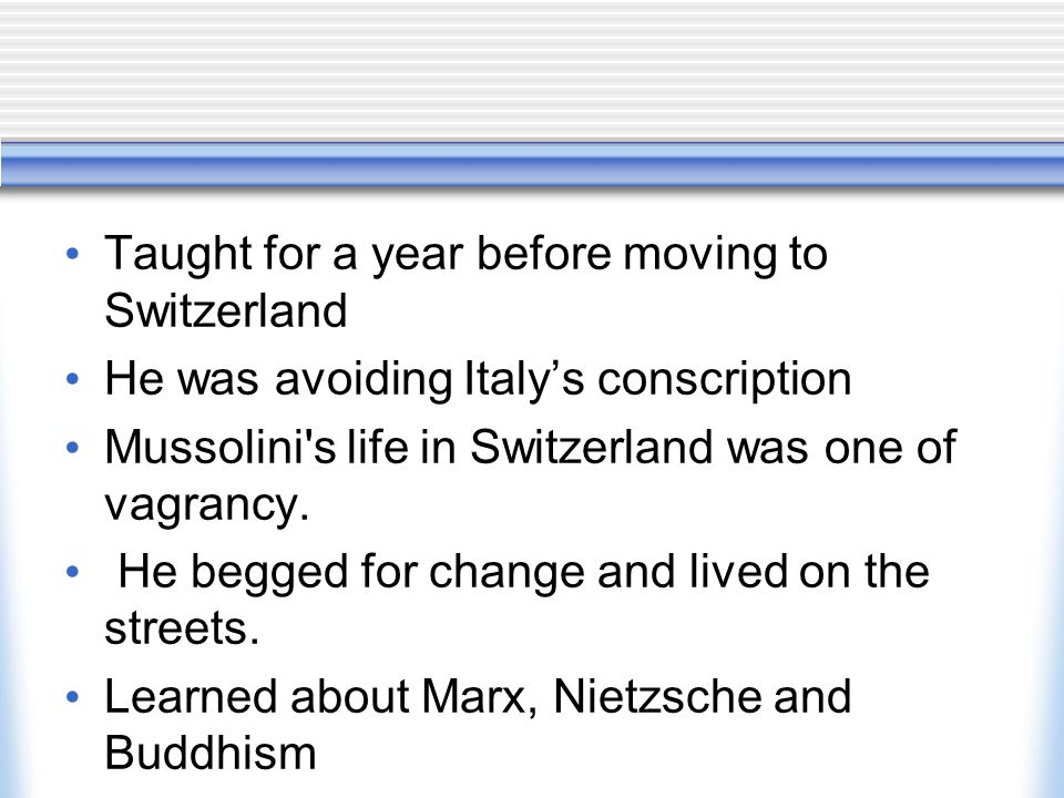 political parties are banned (except for Mussolini's of course).