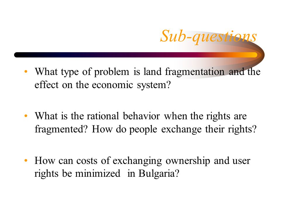 Purpose of the study To propose institutional options for solving land fragmentation caused problems on the basis of analyses of land transactions, the actors' behavior and institutional settings