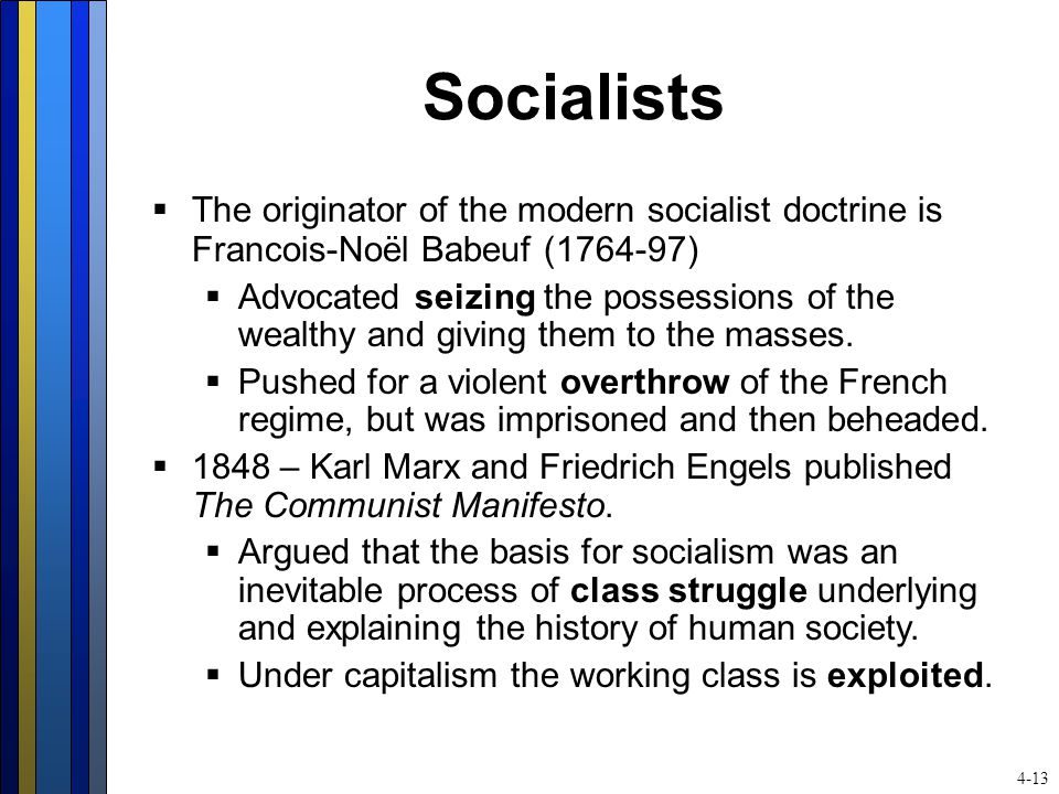 Socialists  The originator of the modern socialist doctrine is Francois-Noël Babeuf (1764-97)  Advocated seizing the possessions of the wealthy and