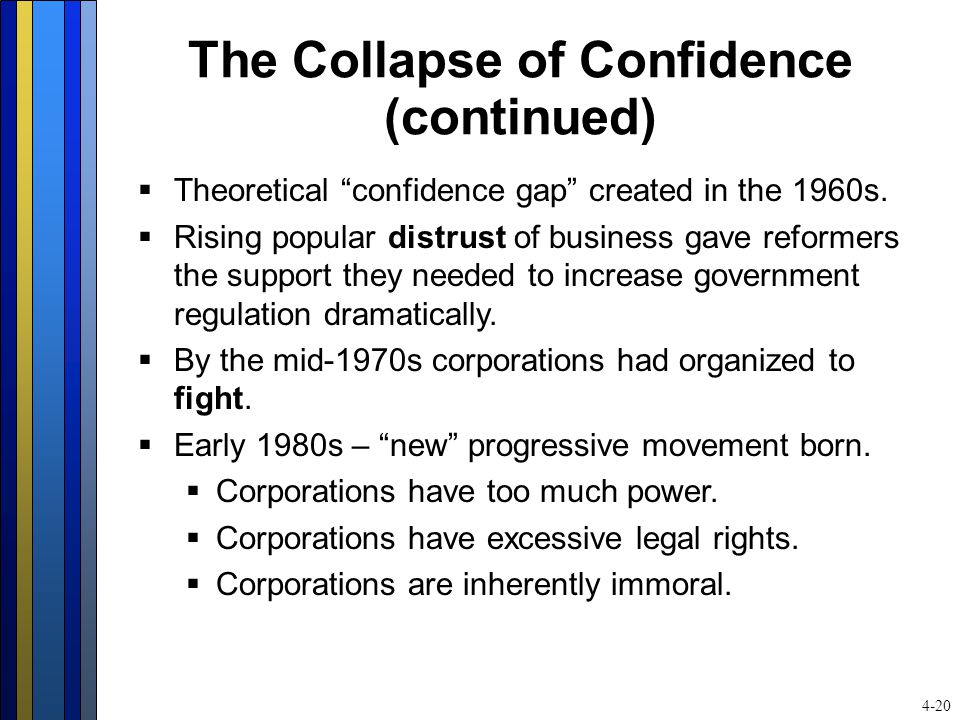 "The Collapse of Confidence (continued)  Theoretical ""confidence gap"" created in the 1960s.  Rising popular distrust of business gave reformers the s"