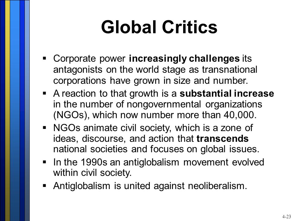 Global Critics  Corporate power increasingly challenges its antagonists on the world stage as transnational corporations have grown in size and numbe
