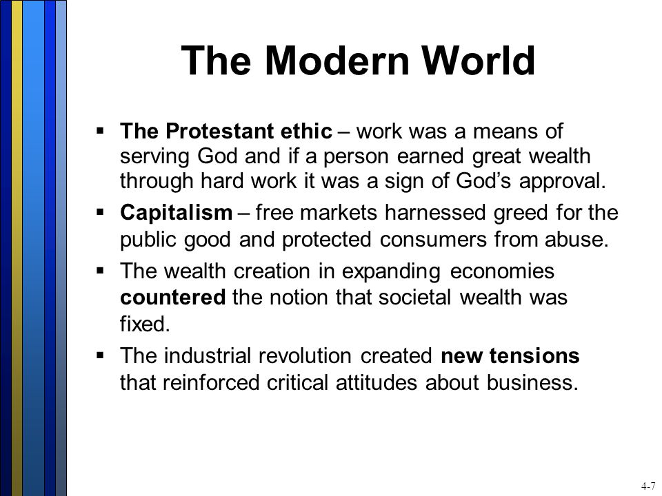 The Modern World  The Protestant ethic – work was a means of serving God and if a person earned great wealth through hard work it was a sign of God's