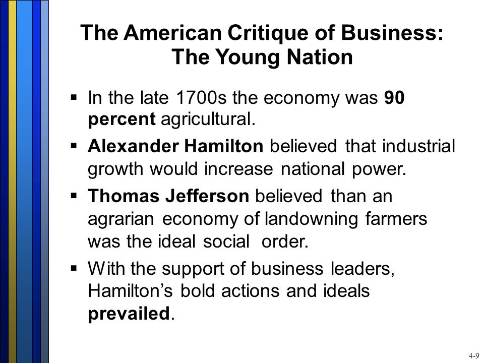 The American Critique of Business: The Young Nation  In the late 1700s the economy was 90 percent agricultural.  Alexander Hamilton believed that in