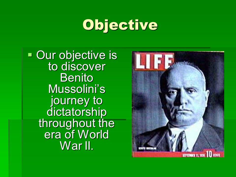 Benito's Background  Benito Mussolini was born on July 29, 1883 in Varnano dei Costa near the village of Predappio.