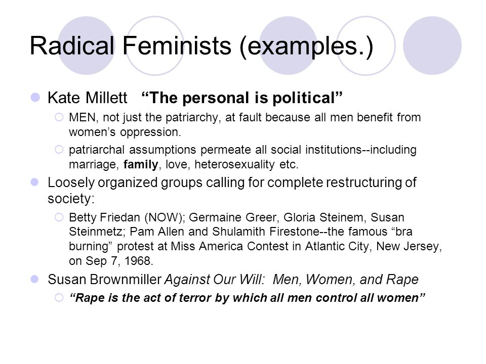 """Kate Millett """"The personal is political""""  MEN, not just the patriarchy, at fault because all men benefit from women's oppression.  patriarchal assum"""
