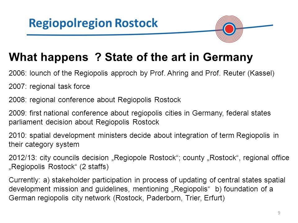 Regiopolregion Rostock 10 What does Regiopolis suggest for ESPON.