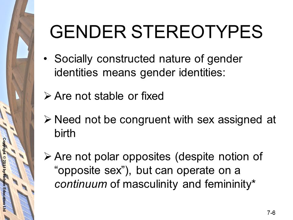 Copyright © 2011 by Nelson Education Ltd 7-6 GENDER STEREOTYPES Socially constructed nature of gender identities means gender identities:  Are not st