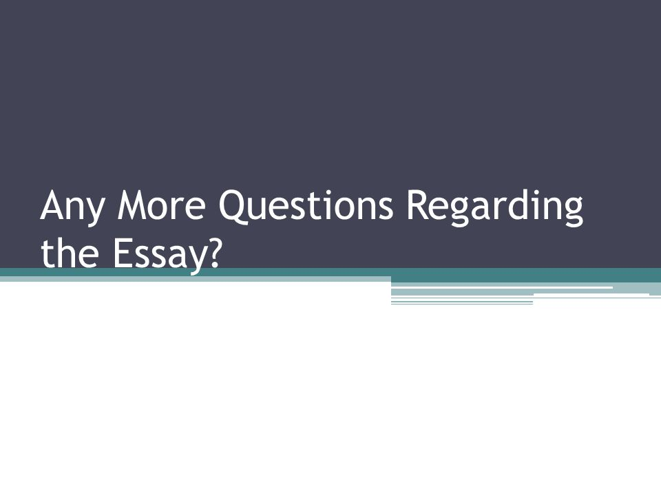 Any More Questions Regarding the Essay?