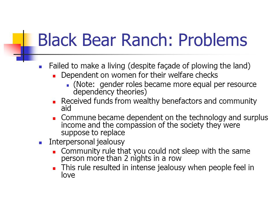 Black Bear Ranch: Problems Failed to make a living (despite façade of plowing the land) Dependent on women for their welfare checks (Note: gender role