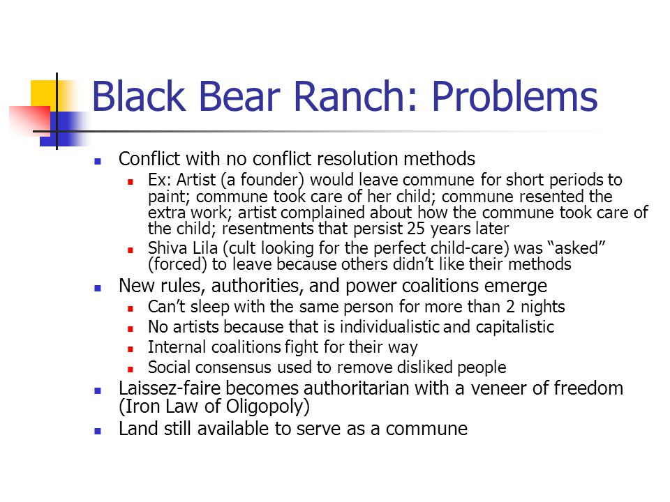 Black Bear Ranch: Problems Conflict with no conflict resolution methods Ex: Artist (a founder) would leave commune for short periods to paint; commune