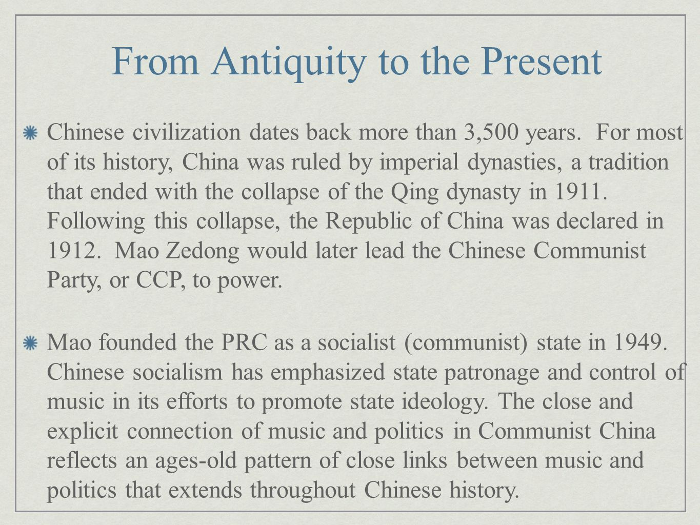 There have been three main historical periods in the history of Communist China: The initial communist era of Mao Zedong's regime, 1949- 1965, in which Chinese society was reformed under Communist rule.