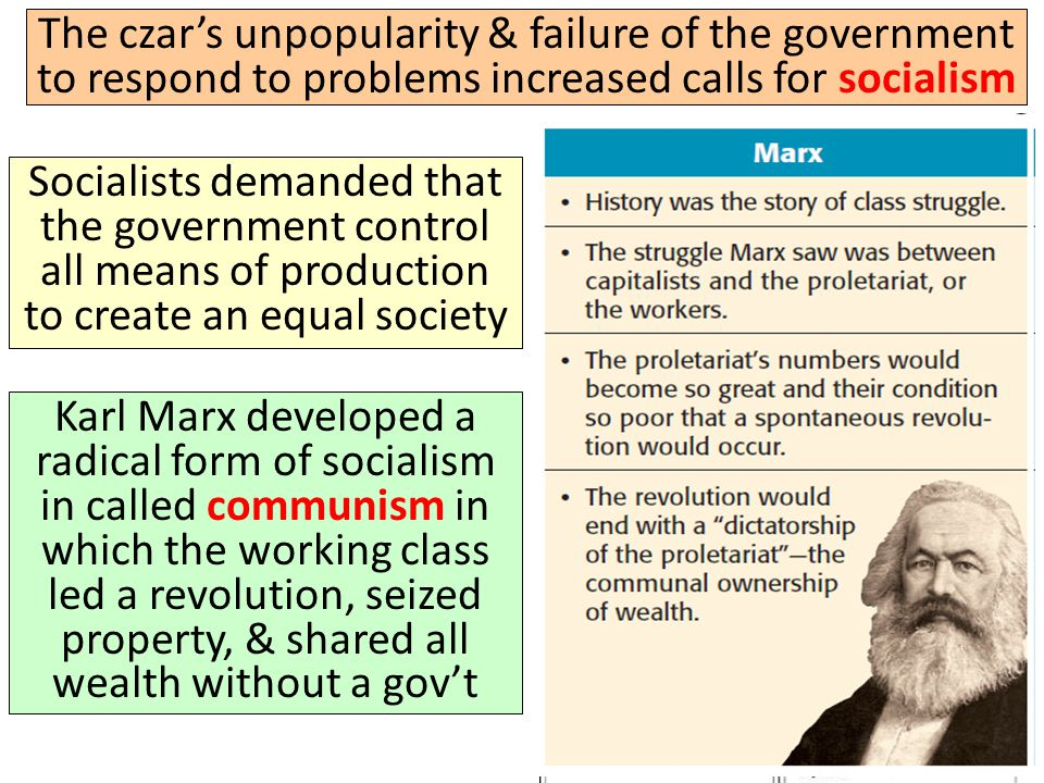The czar's unpopularity & failure of the government to respond to problems increased calls for socialism Radical workers, peasants, & soldiers began to form councils called soviets that held meetings & assumed control over local gov'ts Image of one of Russia's first soviet councils