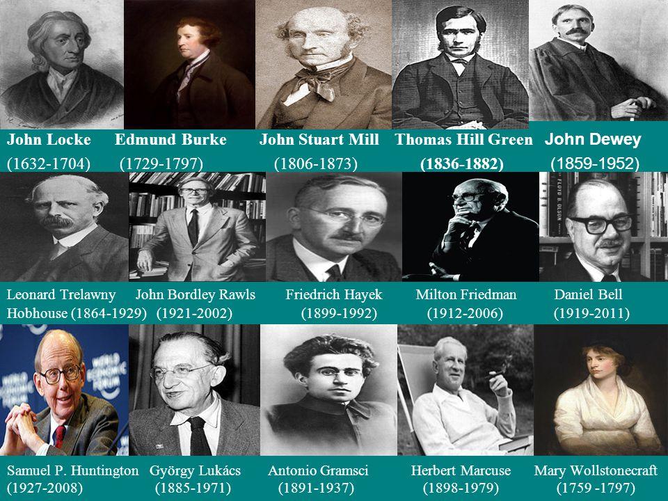 John Locke Edmund Burke John Stuart Mill Thomas Hill Green John Dewey (1632-1704) (1729-1797) (1806-1873) (1836-1882) (1859-1952) Leonard Trelawny John Bordley Rawls Friedrich Hayek Milton Friedman Daniel Bell Hobhouse (1864-1929) (1921-2002) (1899-1992) (1912-2006) (1919-2011) Samuel P.