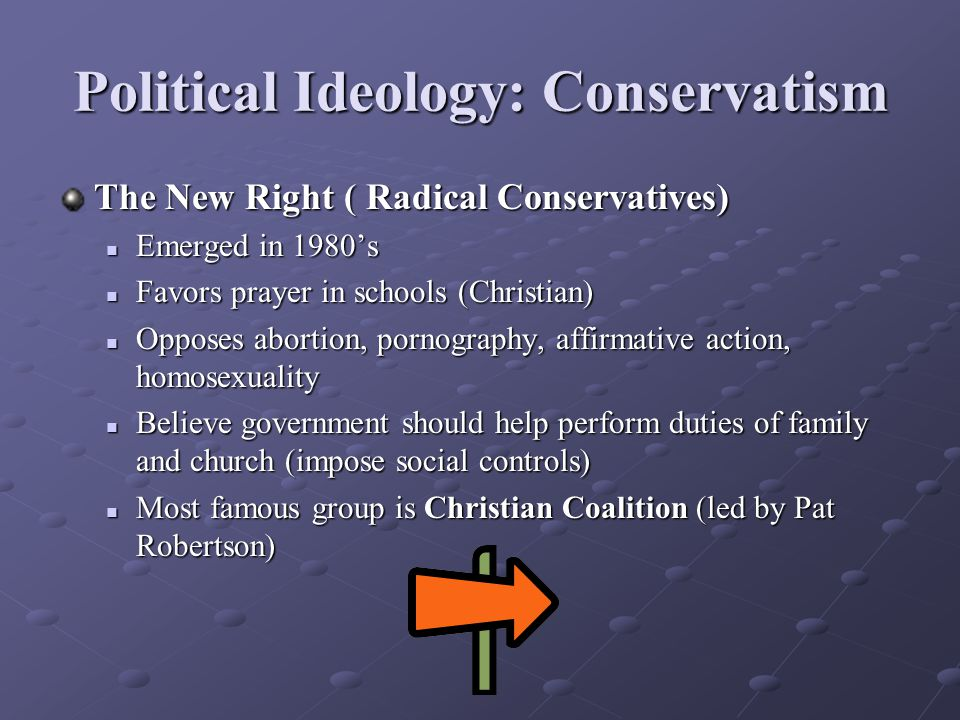 Political Ideology: Conservatism The New Right ( Radical Conservatives) Emerged in 1980's Emerged in 1980's Favors prayer in schools (Christian) Favors prayer in schools (Christian) Opposes abortion, pornography, affirmative action, homosexuality Opposes abortion, pornography, affirmative action, homosexuality Believe government should help perform duties of family and church (impose social controls) Believe government should help perform duties of family and church (impose social controls) Most famous group is Christian Coalition (led by Pat Robertson) Most famous group is Christian Coalition (led by Pat Robertson)