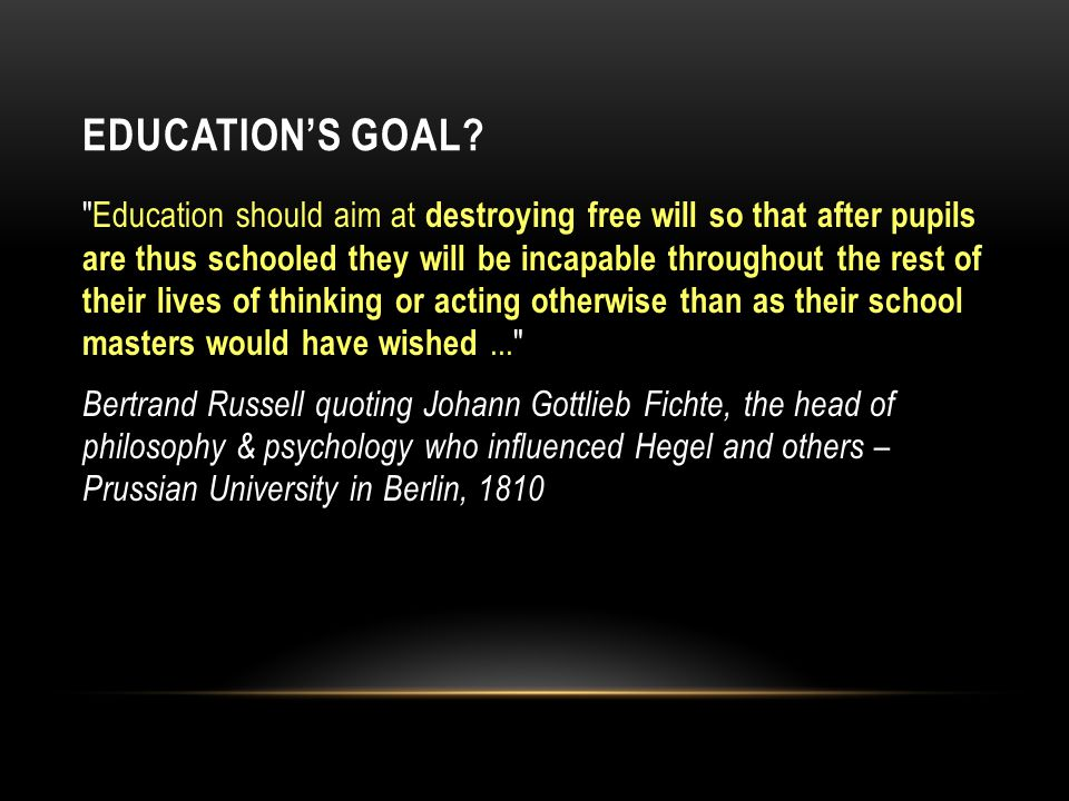 EDUCATION'S GOAL.