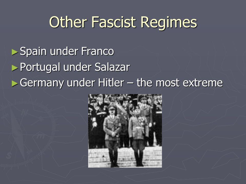 Regimes with fascist elements ► Argentina under Juan Peron (1946-55) ► Chile under Pinochet (1973-1990) ► Iraq under Saddam Hussein (1970s – 2003) ► South Africa apartheid regime for Blacks (1945-1990)