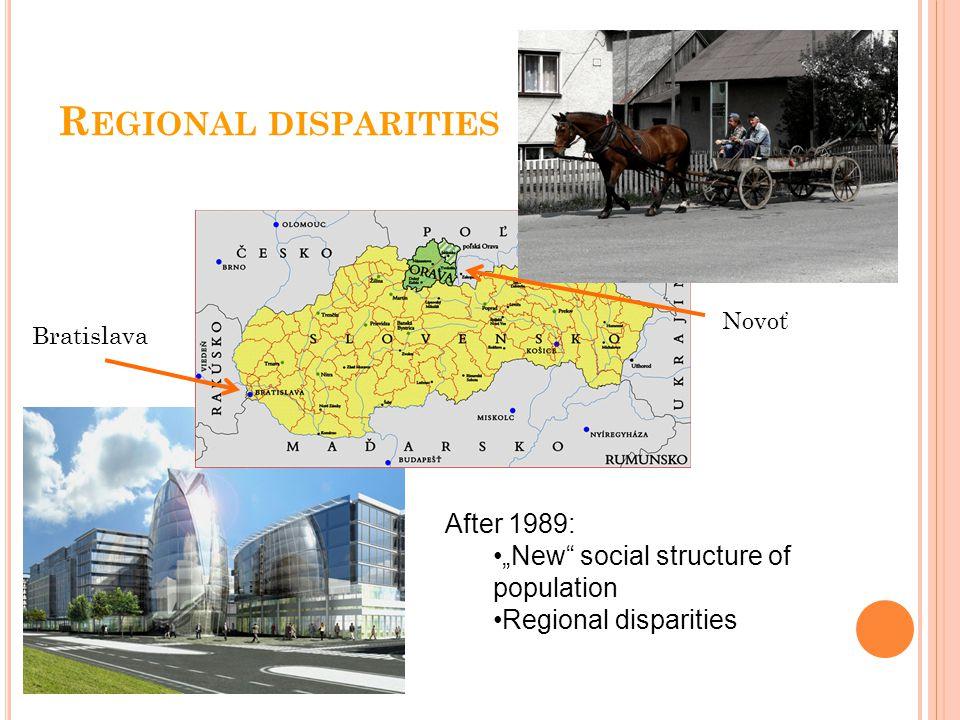 "R EGIONAL DISPARITIES Bratislava Novoť After 1989: ""New social structure of population Regional disparities"