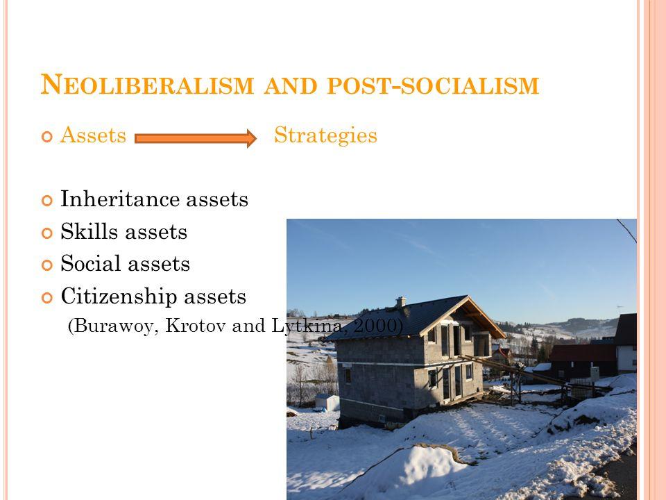 N EOLIBERALISM AND POST - SOCIALISM Assets Strategies Inheritance assets Skills assets Social assets Citizenship assets (Burawoy, Krotov and Lytkina, 2000)