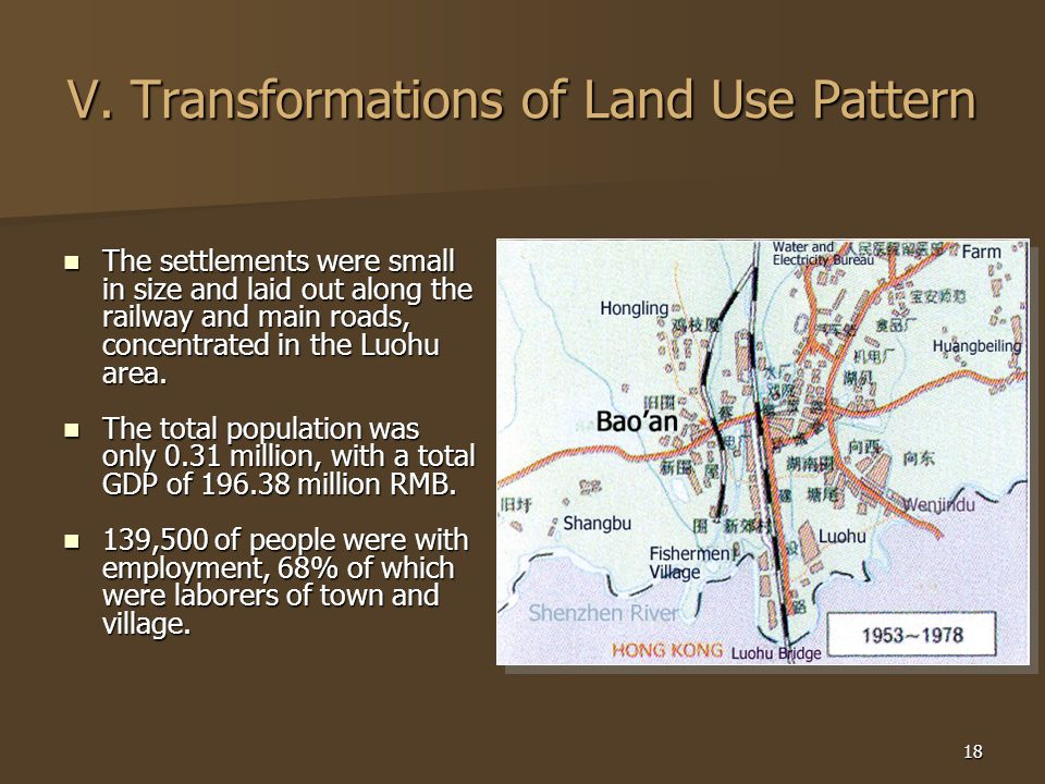 18 V. Transformations of Land Use Pattern The settlements were small in size and laid out along the railway and main roads, concentrated in the Luohu