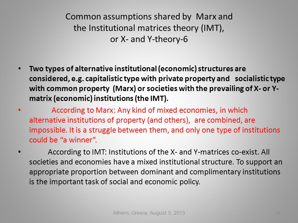 Common assumptions shared by Marx and the Institutional matrices theory (IMT), or X- and Y-theory-6 Two types of alternative institutional (economic) structures are considered, e.g.