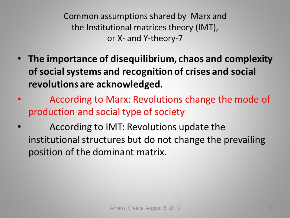 Common assumptions shared by Marx and the Institutional matrices theory (IMT), or X- and Y-theory-7 The importance of disequilibrium, chaos and complexity of social systems and recognition of crises and social revolutions are acknowledged.