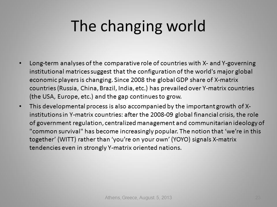 The changing world Long-term analyses of the comparative role of countries with X- and Y-governing institutional matrices suggest that the configuration of the world s major global economic players is changing.