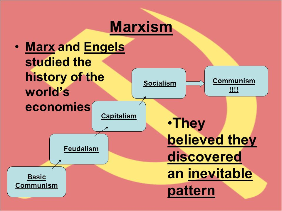 Marxism Marx and Engels studied the history of the world's economies Basic Communism Feudalism Capitalism Communism !!!.