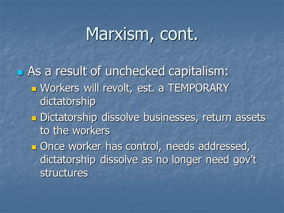 Marxism, cont.