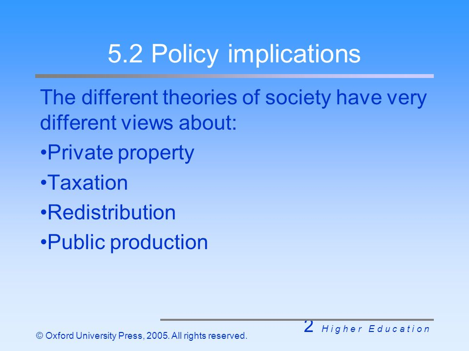 2 H i g h e r E d u c a t i o n © Oxford University Press, 2005. All rights reserved. 5.2 Policy implications The different theories of society have v