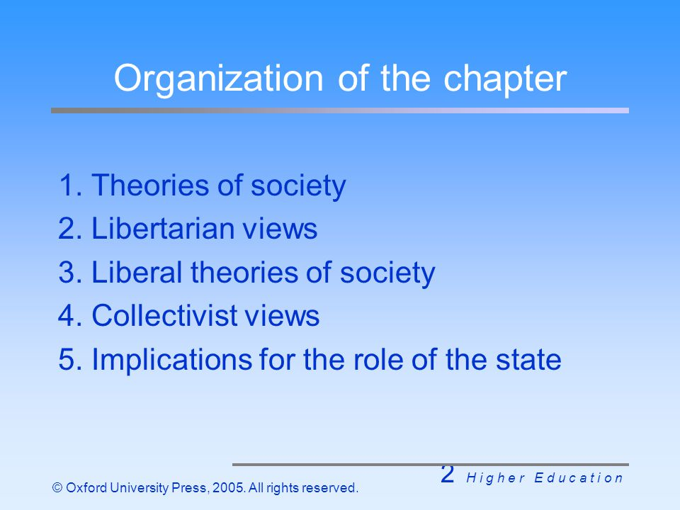 2 H i g h e r E d u c a t i o n © Oxford University Press, 2005. All rights reserved. Organization of the chapter 1. Theories of society 2. Libertaria