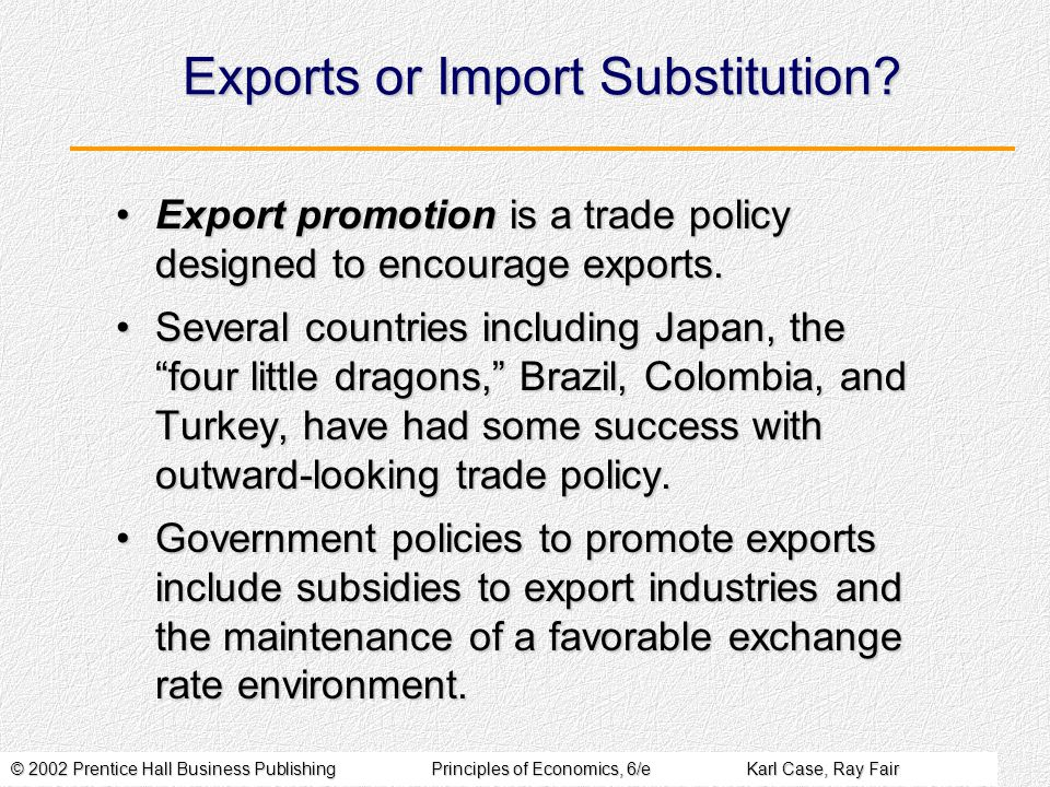 © 2002 Prentice Hall Business PublishingPrinciples of Economics, 6/eKarl Case, Ray Fair Exports or Import Substitution.