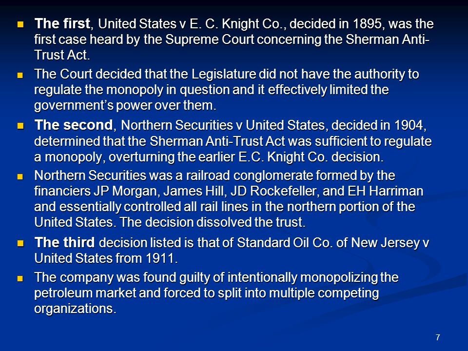 7 The first, United States v E. C.