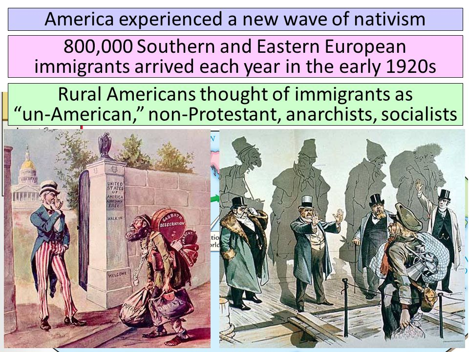 America experienced a new wave of nativism 800,000 Southern and Eastern European immigrants arrived each year in the early 1920s Rural Americans thoug