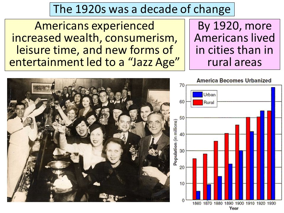 """The 1920s was a decade of change Americans experienced increased wealth, consumerism, leisure time, and new forms of entertainment led to a """"Jazz Age"""""""