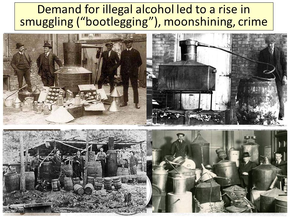 """Demand for illegal alcohol led to a rise in smuggling (""""bootlegging""""), moonshining, crime"""