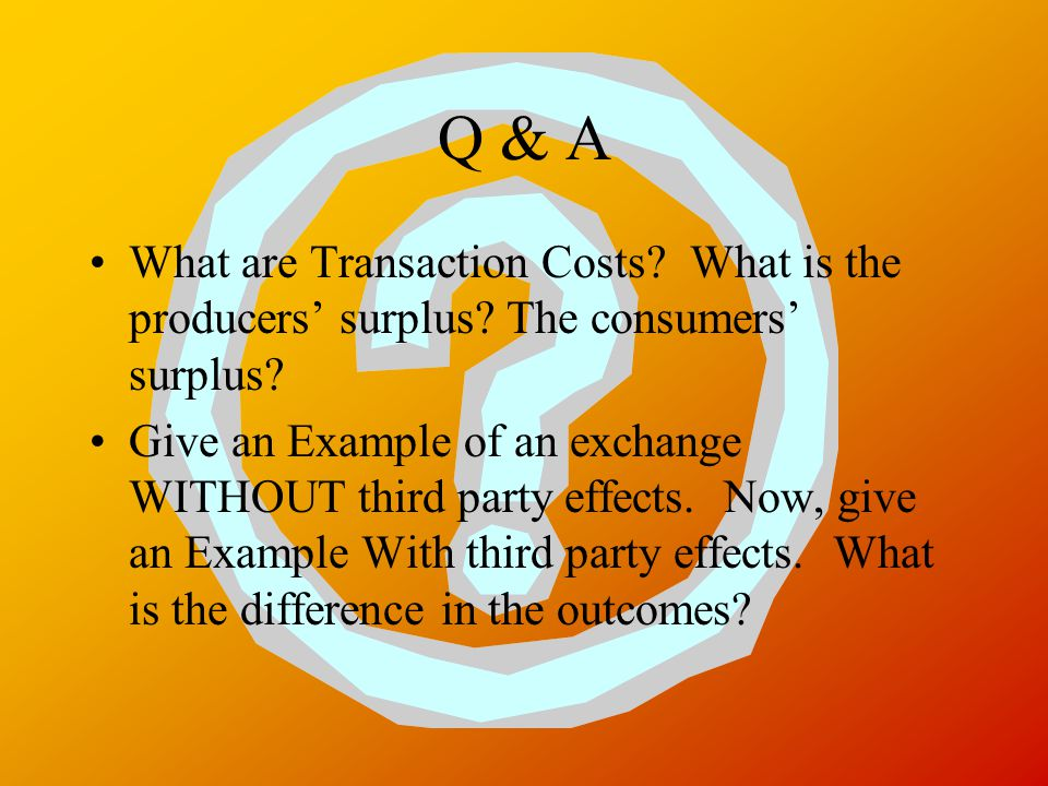 Q & A What are Transaction Costs. What is the producers' surplus.