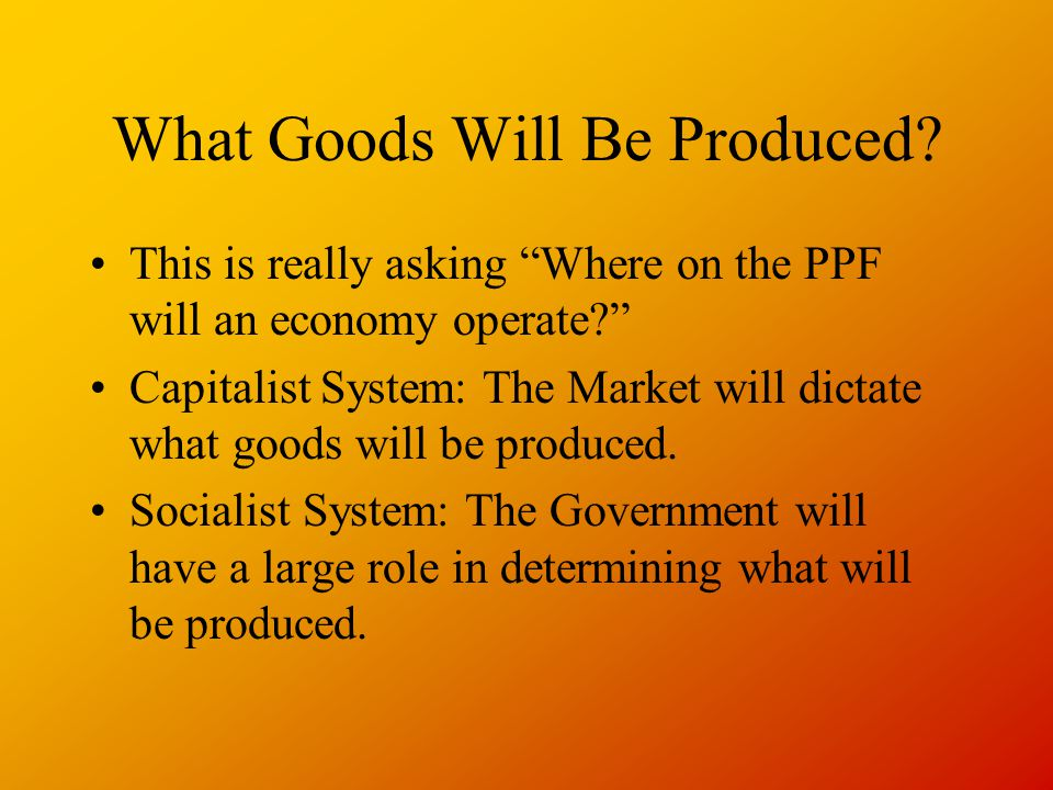 What Goods Will Be Produced.