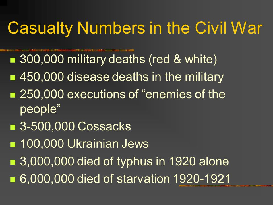 Casualty Numbers in the Civil War 300,000 military deaths (red & white) 450,000 disease deaths in the military 250,000 executions of enemies of the people 3-500,000 Cossacks 100,000 Ukrainian Jews 3,000,000 died of typhus in 1920 alone 6,000,000 died of starvation 1920-1921
